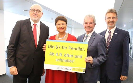 v.li.: ÖBB-Chef Andreas Matthä, Wiens Finanzstadträtin Renate Brauner, NÖ-Landesrat Karl Wilfing, VOR-Geschäftsführer Wolfgang Schroll