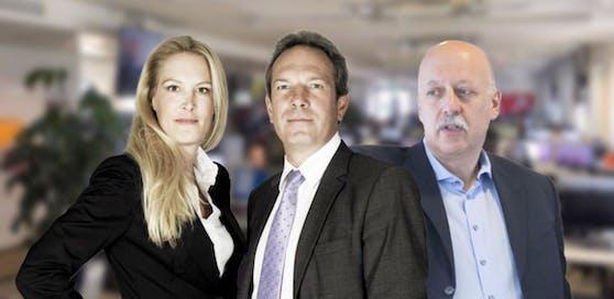 Herausgeberin Dr. Eva Dichand, Geschäftsführer Wolfgang Jansky und Chefredakteur Dr. Christian Nusser freuen sich über die aktuellen Mediaanalyse-Zahlen.