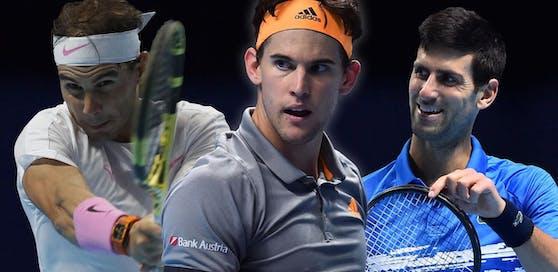 Dominic Thiem lehrt die Top-Spieler das Fürchten (links Nadal, rechts Djokovic).