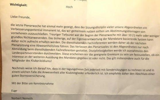 Der Brief des Anstoßes: FP-Klubdirektor Nemeth hat genug von freiheitlichen Abgeordneten, die unentschuldigt Nationalratssitzungen schwänzen würden.