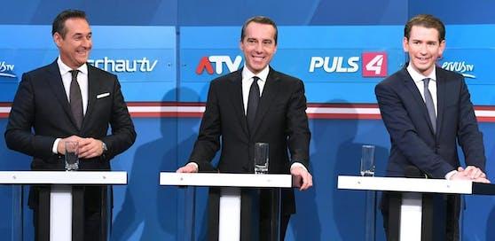 FPÖ-Chef Heinz-Christian Strache, Christian Kern (SPÖ) und ÖVP-Chef Sebastian Kurz im Pressezentrum in der Nationalbibliothek im Rahmen der Nationalratswahl am Sonntag, 15. Oktober 2017.