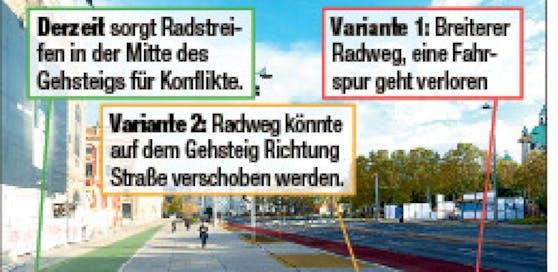 """Der Radweg neben dem Künstlerhaus soll auf die Straße verlegt werden  und würde eine Fahrspur """"killen"""", fürchtet City-Bezirkschef Markus Figl (ÖVP)."""