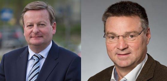 Gottfried Waldhäusl (li.) kritisiert seine Vorgänger hart, Wolfgang Kocevar (Landesmanager SPNÖ) will das nicht auf sich sitzen lassen.