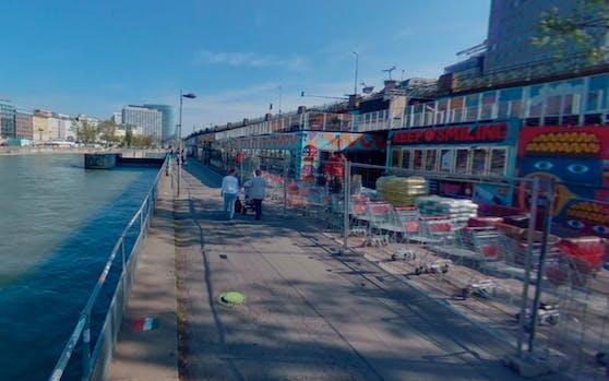 Donaukanal-Promenade auf Höhe der Augartenbrücke.