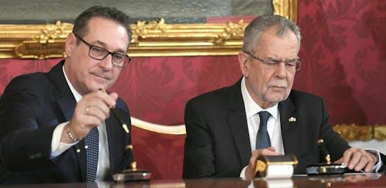 Vizekanzler Heinz Christian Strache (FPÖ) und Bundespräsident Alexander Van der Bellen.