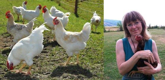 """Nina Hofstädter ist Obfrau des Vereins """"Rette dein Huhn""""  Sie kauft die 9.000 Hühner aus der Konkursmasse und vermittelt sie an Privatpersonen."""