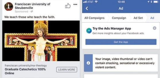 Links die Werbung, welche die Universität schalten wollte, und rechts Facebooks Ablehnung.