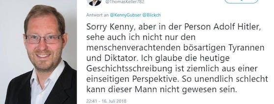 Der Schweizer Politiker Thomas Keller sorgte mit einem Tweet für Empörung.