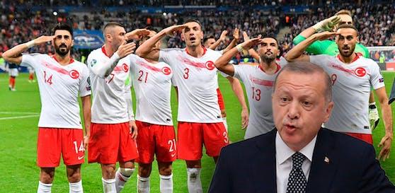 Staatspräsident Recep Erdogan verteidigt den Jubel der türkischen Spieler.