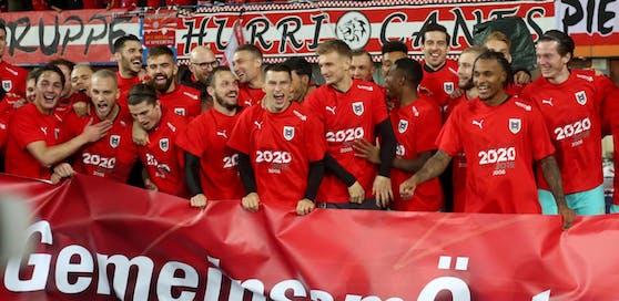 Das ÖFB-Team jubelte nach dem Heimsieg gegen Nordmazedonien über die geschaffte Qualifikation für die EURO 2020.