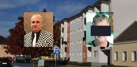 Anwalt Michael Dohr (l.) und sein Mandant Erwin F. (59, r.); dahinter die Wohnhausanlage, in der Frieda L. (70) erstochen wurde.