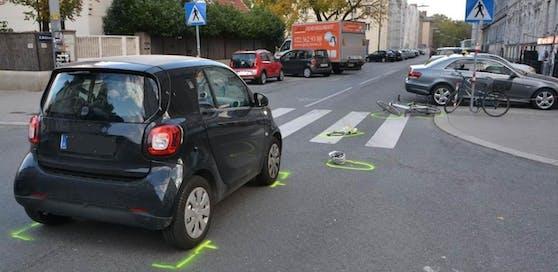 Bei einem Unfall im 2. Wiener Bezirk wurde ein Radfahrerin schwer verletzt.