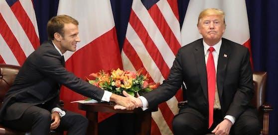 Handshake zwischen Frankreichs Präsident Emmanuel Macron und US-Präsident Donald Trump (hier beim biliteralen Gipfel in New York im September).
