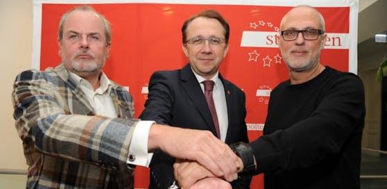 Sicherheitsstadtrat Ewald Buschenreiter, Bürgermeister Matthias Stadler und Peter Puchner, Manager für Bevölkerungsschutz und Katastrophenhilfe.