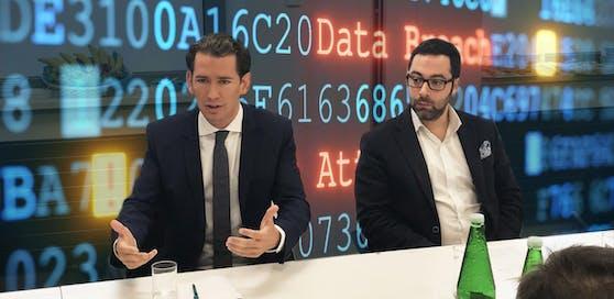 Hacker-Attacke auf die ÖVP: Sebastian Kurz und Avi Kravitz von der Firma CyberTrap bei der Pressekonferenz am Donnerstag (05.09.2019)