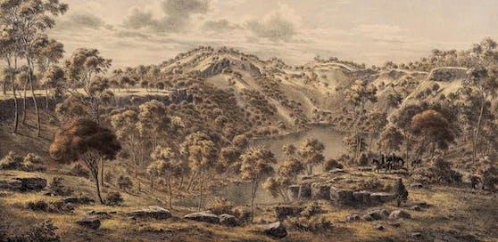 Der Krater des Budj Bim. Illustration aus den 1860er-Jahren