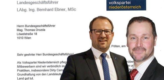 Bernhard Ebner (Mi.) fordert den Parteiausschluss von Christoph Baumgärtel (r.)