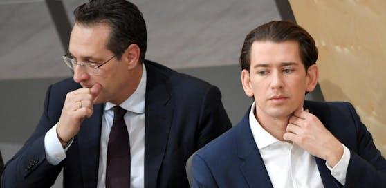 Bundeskanzler Kurz (r.) und Vizekanzler Strache im Nationalrat