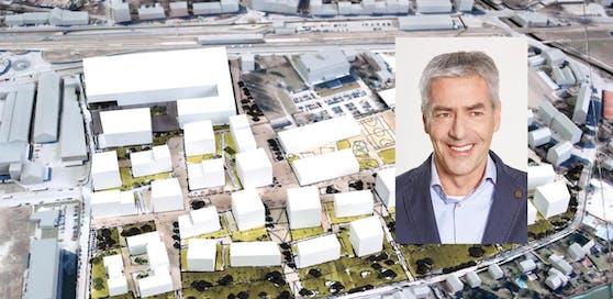 Das unter Bürgerbeteiligung geplante, neue Stadtviertel am Kasernenareal; Grünen-Stadtchef Sepp Wimmer (re.)