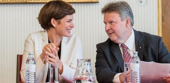 Die Bundesparteivorsitzende der SPÖ, Pamela Rendi- Wagner, und Wiens Bürgermeister Michael Ludwig (SPÖ).