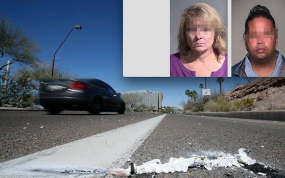 Enthüllt: Uber-Sicherheitsfahrerin Rafaela V. (44, ganz re.) ist ein vorbestrafter Räuber. Bei einem Unfall in Tempe (Arizona) starb jetzt die ebenfalls vorbestrafte Fußgeherin Elaine H. (49, re.).