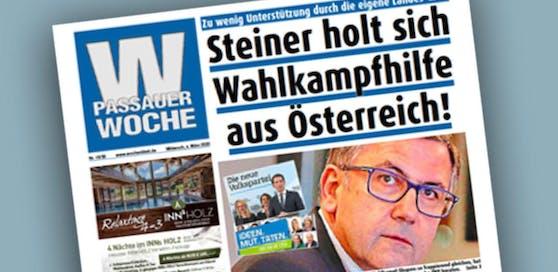 """Bericht aus der """"Passauer Woche"""": OÖVP hilft dem Linzer Tourismusdirektor Georg Steiner bei seinem Bürgermeister-Wahlkampf im bayerischen Passau."""
