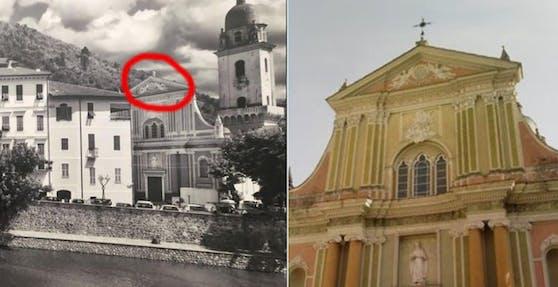 Das Kreuz mit dem Kreuz: Lidl hängte Werbefotos mit der Kirche in Dolceacqua (Italien) in eine Filiale, auf denen etwas ganz wichtiges fehlt...