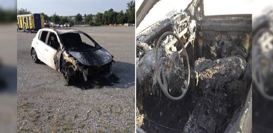 Der Pkw wurde bei dem Brand schwer beschädigt