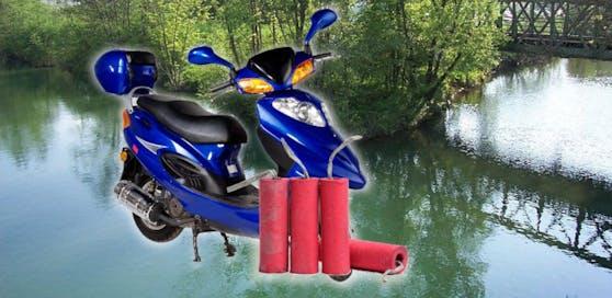 Das Moped landete schließlich in der Erlauf.