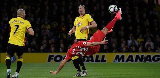 So schön kann Fußball sein! Liverpools Emre Can trifft per Fallrückzieher - ÖFB-Legionär Sebastian erlebt das Traumtor aus der ersten Reihe fußfrei mit