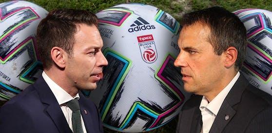 Rapid-Geschäftsführer Christoph Peschek und Austrias AG-Vorstand Markus Kraetschmer möchten so schnell wie möglich wieder Fußball spielen.