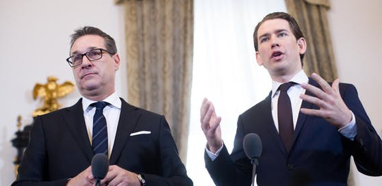 FPÖ-Vizekanzler Heinz-Christian Strache (l.) und ÖVP-Kanzler Sebastian Kurz bei einer Pressekonferenz nach dem Ministerrat.