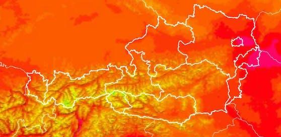 Die Karte zeigt: Die Hitze-Pole um 16.30 Uhr: Österreichs Osten , bis in die Südsteiermark.