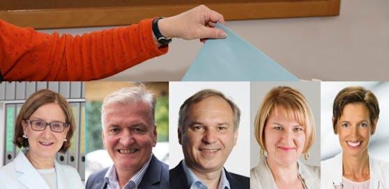 Die Spitzenkandidaten: Johanna Mikl-Leitner (VP), Franz Schnabl (SP), Walter Rosenkranz (FP), Helga Krismer (Grüne), Indra Collini (Neos)