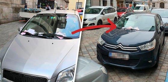 """Die Strafzettel wurden einfach auf einem anderen Auto """"geparkt""""."""
