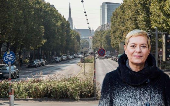 """Bezirkschefin Uschi Lichtenegger muss in ihren Umbauplänen für """"30er""""-Zone Praterstraße einen Rückschlag hinnehmen."""