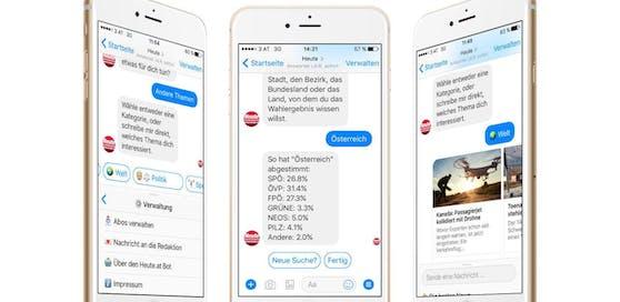 """Der """"Heute""""-Chatbot verrät neben News, Wetter und Horoskop auch Infos wie das aktuelle Wahlergebnis."""