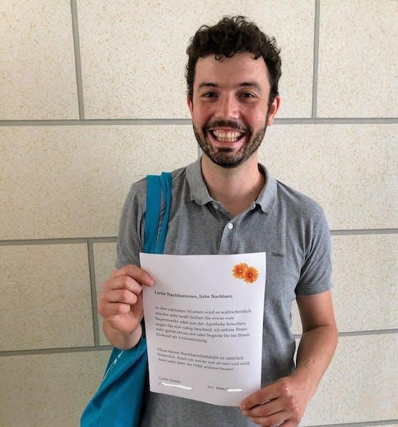 Daniel Böhm bietet jetzt auch seine Nachbarschaftshilfe an. Nach diesem Brief vielleicht auch Sie!