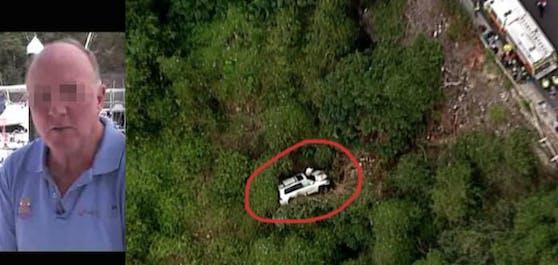 Wunder: Der weiße Geländewagen liegt nach einem 30-Meter-Sturz im Abgrund, der bekannte Autor Gordon K. (64) überlebt fast unverletzt!