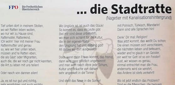 Das Gedicht der FPÖ Braunau sorgt für Kritik und Rücktrittsforderungen.