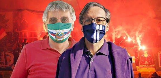 Rapid-Arzt Benno (l.) und Austria-Neurologe Udo Zifko