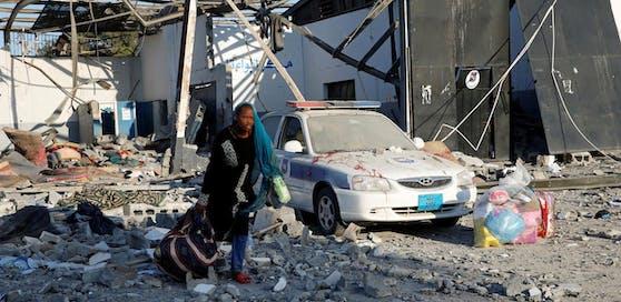Das Flüchtlingslager am Tag nach dem Angriff