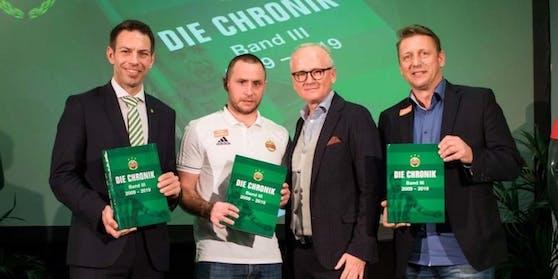 Präsentation der Rapid-Chronik: Christoph Peschek, Steffen Hofmann, Andy Marek und Zoran Barisic (v.l.n.r.)