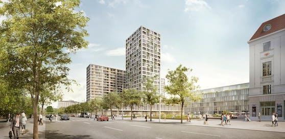 """Heumarkt-Areal: So soll das Gelände rund um den Eislaufverin künftig aussehen. Der 66-Meter-Turm ist umstritten. Die Unesco entscheidet in den nächsten Tagen, ob die historische Innenstadt auf die """"Rote Liste"""" gesetzt wird."""