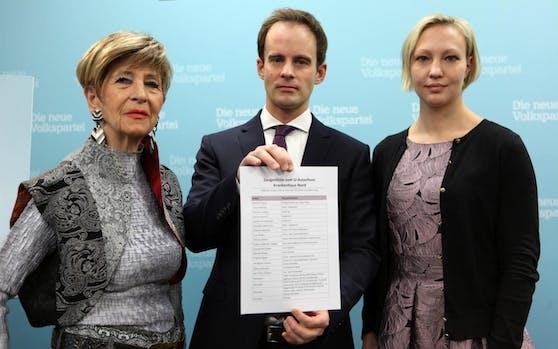 Die ÖVP Wien-Politiker Ingrid Korosec, Markus Wölbitsch und Caroline Hungerländer (v.l.n.r.) wollen die Wiener in die Untersuchung zum Krankenhaus Nord einbeziehen.(c) ÖVP Wien