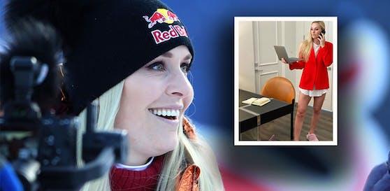 Lindsey Vonn und ihr Home-Office-Outfit.