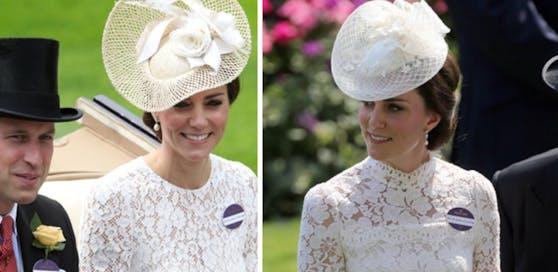 Herzogin Kate in Ascot: links im Jahr 2016 mit ihrem William, rechts im Jahr 2017