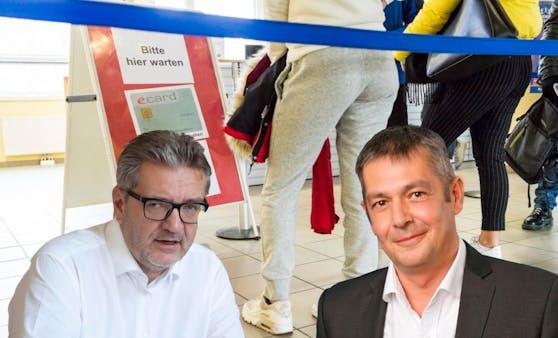 Rot-blauer Zwist um die Umsetzung der Mindestsicherung Neu in Wien: (v.l.n.r.) Sozialstadtrat Peter Hacker und der Freiheitliche Gesundheitssprecher Wolfgang Seidl.