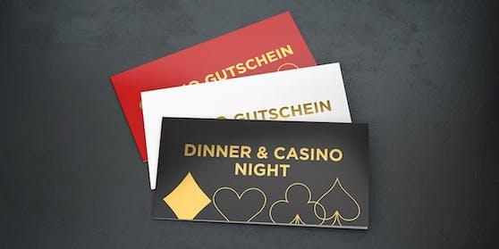 Ein Geschenk für unvergessliche Momente - Dinner & Casino Night Gutscheine.