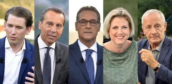 (v.l.) Sebastian Kurz (ÖVP), Christian Kern (SPÖ), Heinz-Christian Strache (FPÖ), Beate Meinl-Reisinger (NEOS), Peter Pilz (Liste Pilz)